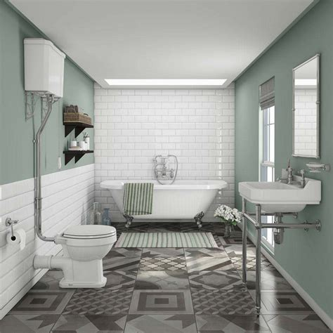 newbury traditional back to wall roll top bath suite at