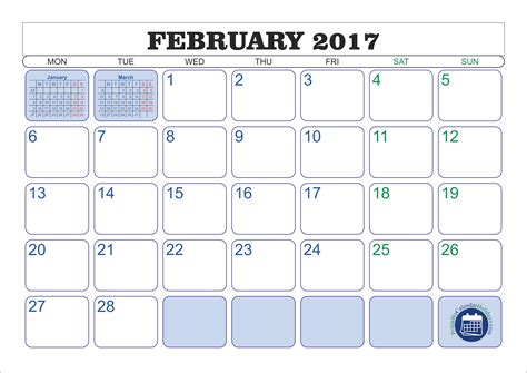 february 2017 printable calendar printable 2017 calendar