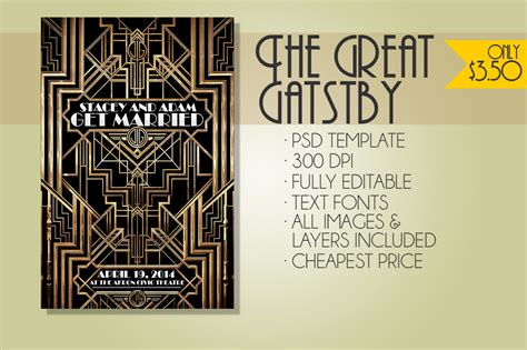 The Great Gatsby Flyer Weddings Flyer Templates On Creative Market Great Templates