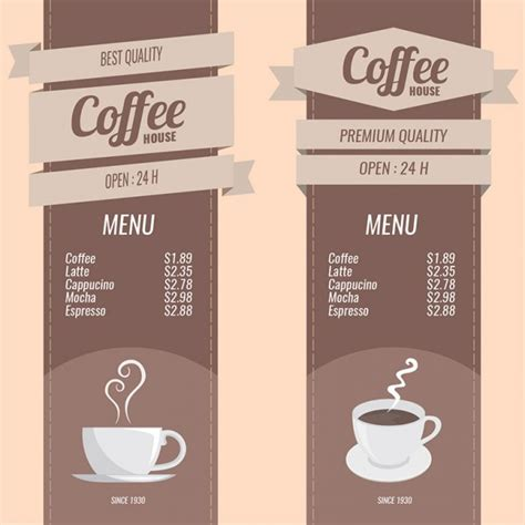 coffee menu template coffee menus set vector free