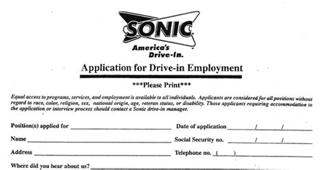 sonic application form applications 1 independent