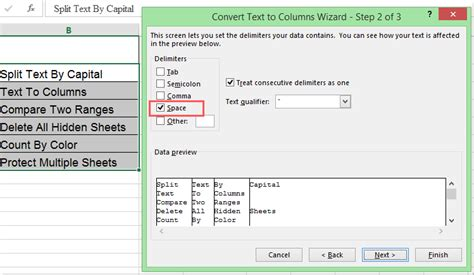 format excel uppercase how to split text into separate columns by capital letter