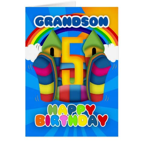 printable birthday cards grandson grandson 5th birthday card with bouncy castle zazzle