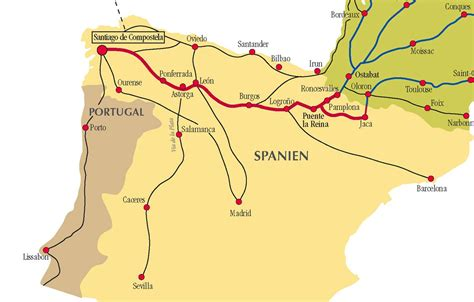 camino de santiago route map camino de santiago routes in spain