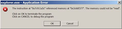getting error message explorer exe has generated errors and will be closed by windows remove