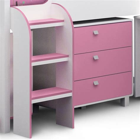 kimbo cabin bed with storage in white pink finish
