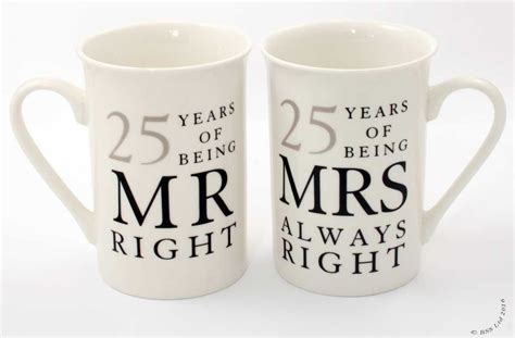 25th Wedding Anniversary Gifts by 25th Anniversary Gift Set Pair Of China Mugs Mr Right