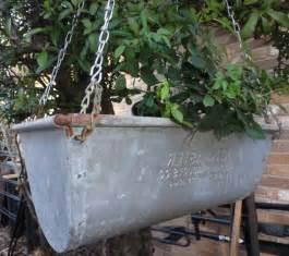 vintage hanging garden planter galvanized by bluebonnetfields
