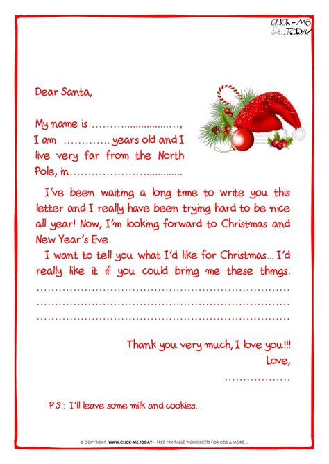 Printable Sle Letter To Santa Claus With Ps Santa Hat 21 Letter Template Santa