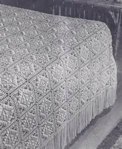 Crochet Bedspread Vintage Crochet Pattern Motif Block Bedspread Textured Ebay