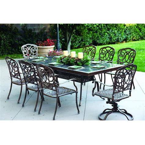 8 Person Patio Table Darlee Florence 9 Cast Aluminum Patio Dining Set With Granite Top Table Mocha Ruby