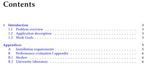appendix section table of contents appendices sections at subsection