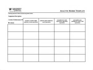 grading rubric template sle blank rubric 9 documents in word pdf