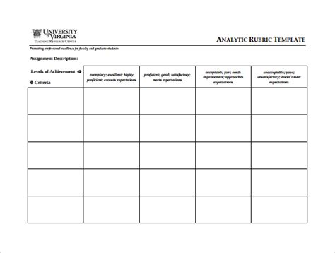 template for rubric sle blank rubric 9 documents in word pdf