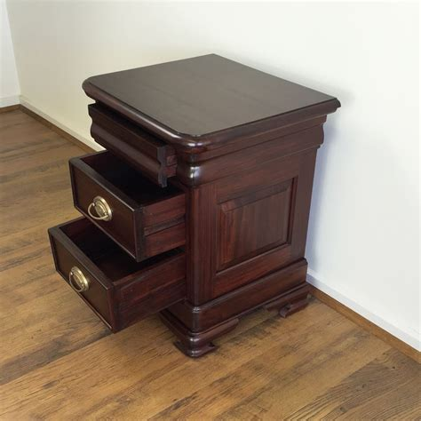 solid mahogany wood low bedside table antique