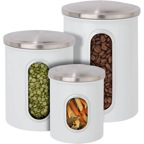 Kitchen Canisters Stainless Steel Stainless Steel Kitchen Canisters Set Of 3 In Kitchen