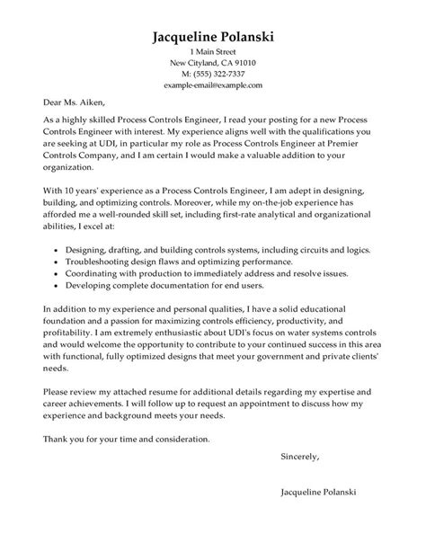 best process controls engineer cover letter exles