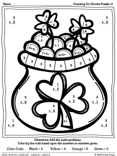 math counting coloring pages st patrick s day counting on clovers color by the code