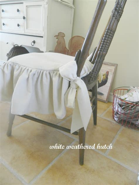 white ruffled chair cushions white weathered hutch country chic ruffled drop cloth