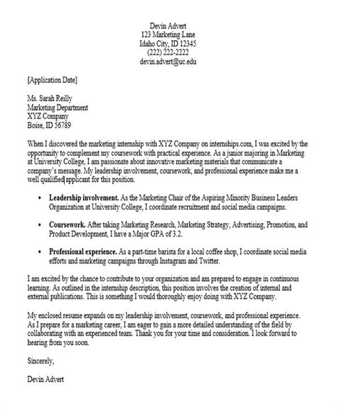 application letter sle for marketing application letter for internship pdf 28 images 8 sle