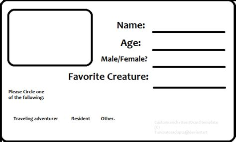 free id card template resident id card template by tundraiceadopts on deviantart
