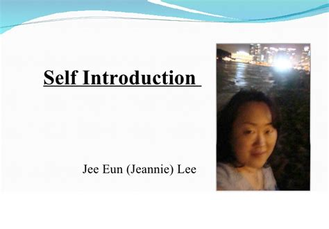 Jee Eun Lee Self Introduction 1 Self Introduction Powerpoint Presentation