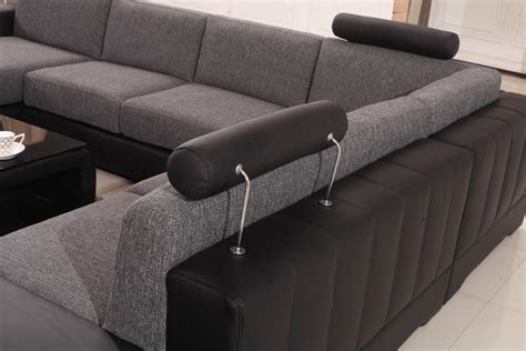 black and grey sectional sofa divani casa modern black grey fabric leather sectional