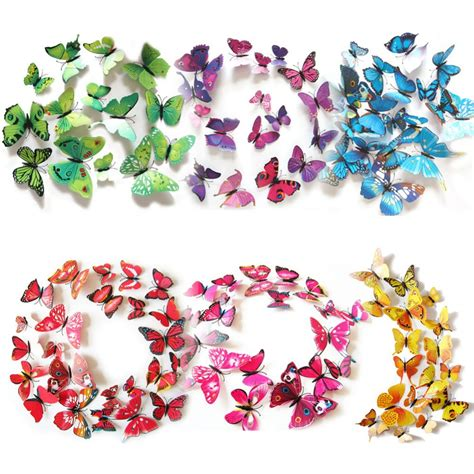 H023 3d Wall Sticker Butterfly Pvc Stiker Dinding Kupu Kupu Motif Te Aliexpress Buy 12pcs Lot 3d Butterflies Wall Sticker