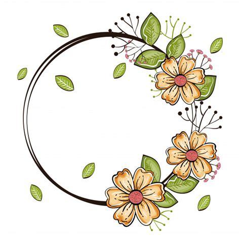 cornice con fiori cornice rotonda con fiori e foglie beige scaricare