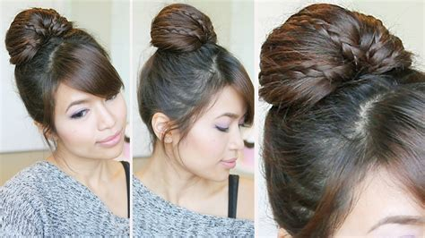 easy going out hairstyles youtube braided fan bun updo hairstyle for medium long hair