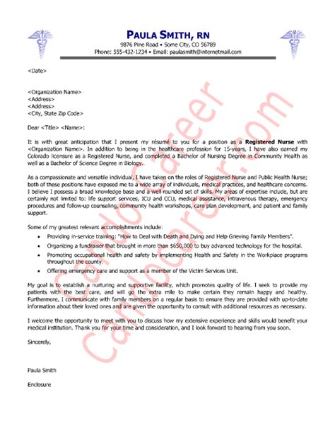 cover letter format for nursing cover letter sle