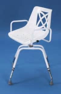 Shower Chair With Swivel Seat by Adjustable Swivel Shower Chair With Perforated Seat