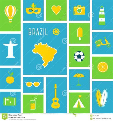 flat design poster vector brazil sports and recreation flat design poster stock