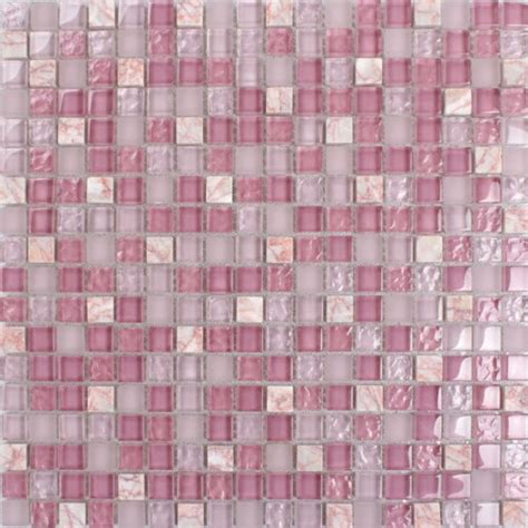 Kitchen Backsplash Ceramic Tile pink glass stone tile mosaic square 3 5 quot frosted glass