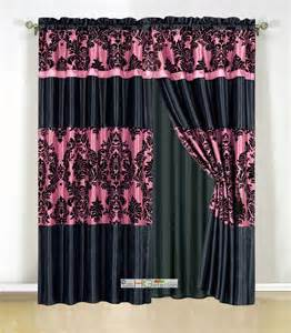 Pink And Black Curtains Inspiration 4pc Silky Satin Flocking Damask Striped Curtain Set Pink Black Valance Drape Ebay