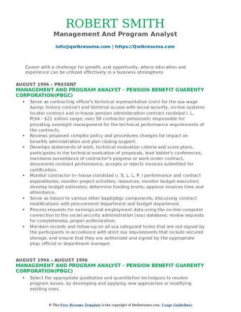 Management Analyst Resume by Management And Program Analyst Resume Sles Qwikresume