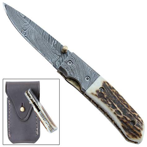 Handmade Mountain Knives - mountain stag handmade damascus steel folding pocket knife