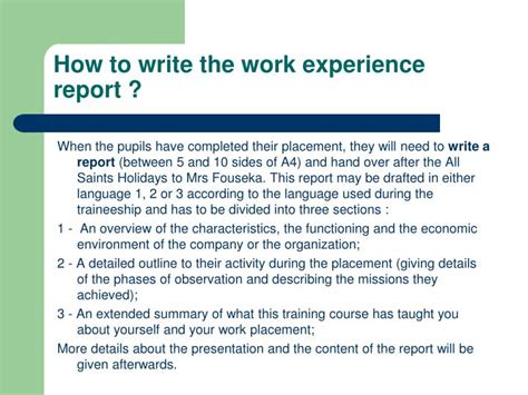 how to write a report for work sle ppt work experience at eeb3 powerpoint presentation id