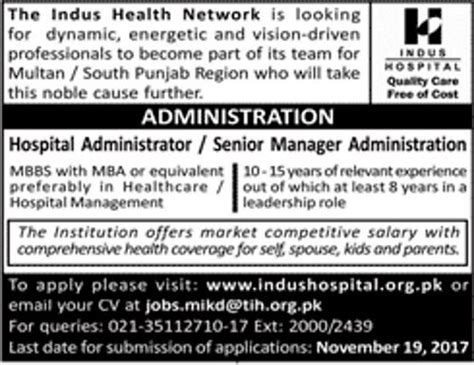 Mba In Healthcare Management In Karachi by Government In Indus Hospital Karachi In Pakistan