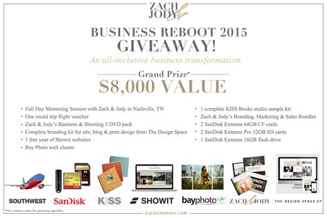 Giveaway Email - 2015 photography business reboot giveaway enter now zach jody