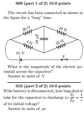 how does it take to discharge a capacitor the circuit has been connected as shown in the fig chegg