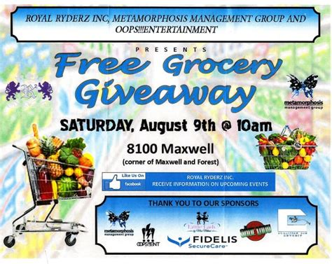 Nutrition Giveaways - free grocery giveaway sat aug 9 10 a m maxwell at e forest detroit voice of