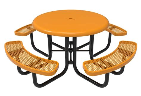 RHINO Round Solid Top Thermoplastic Steel Picnic Table