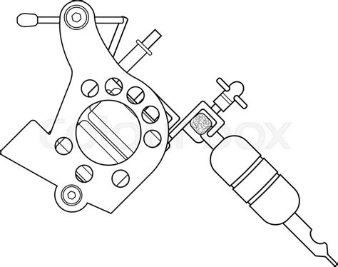 tattoo needle outline tattoo machine linear drawing thin line illustration