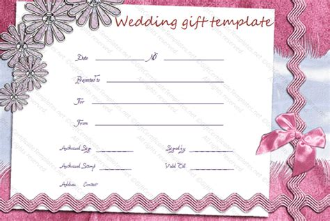 wedding gift certificate template wedding card templates gift certificate templates