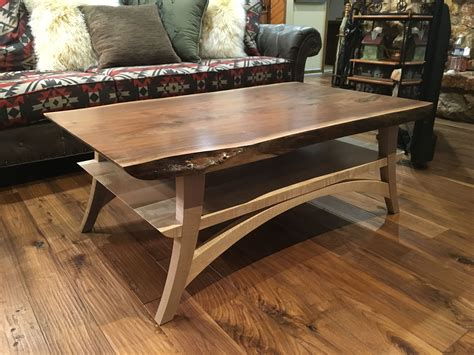 hand crafted curly maple  walnut  edge coffee table  rocky mountain woodworks