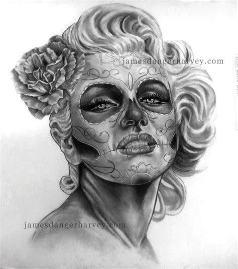 marilyn monroe day of the dead tattoo day of marilyn by jamesdangerharvey on deviantart
