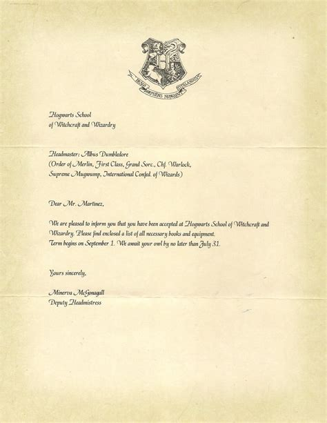 Acceptance Letter Dict harry potter bad of happiness