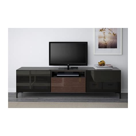 best 197 tv bench black brown selsviken high gloss brown