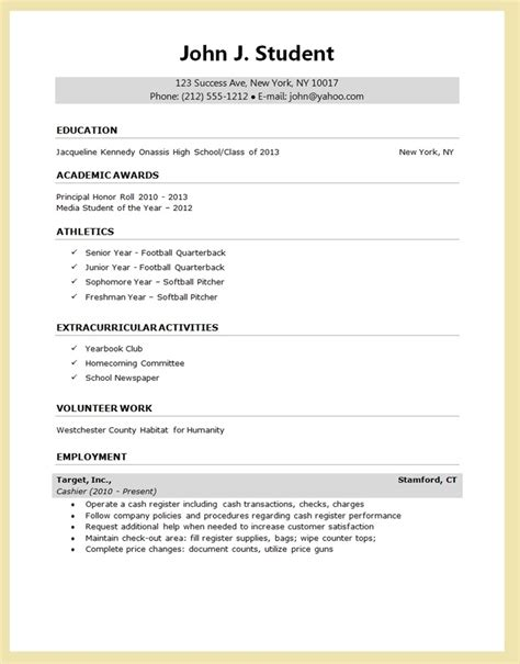 high school student resume template for college college student resume template microsoft word